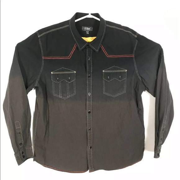 silver men western shirt Curdoroy Ombre Size Xl